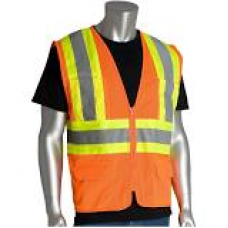 ANSI Type R Class 2 Two-Tone Six Pocket Mesh Vest, 302-MVZP-OR