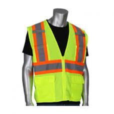 ANSI Type R Class 2 Two-Tone Six Pocket Yellow Mesh Vest, 302-MVZP-LY