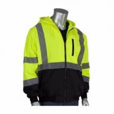 ANSI Type R Class 3 Full Zip Hooded Sweatshirt with Black Bottom, 323-1370B