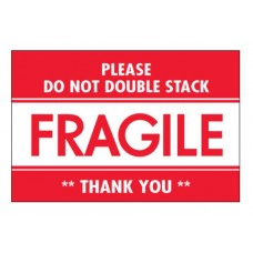 """2 x 3 """"Fragile - Do Not Double Stack"""" Labels, DL2158"""