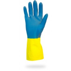 Blue Neoprene over Yellow Flock Lined Latex Gloves, GRLY-1SF